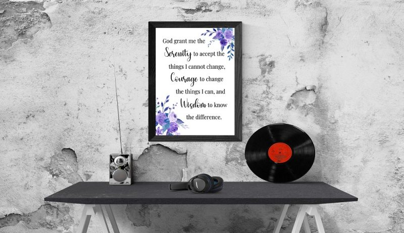 Serenity Prayer with beautiful posy flowers