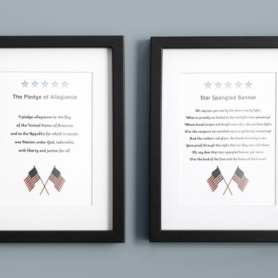 Star Spangled Banner and the Pledge of Allegiance wall art with flag and stars.