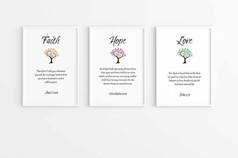 Faith, Hope and Love wall decor art for your home. Scripture wall art of Gospels with beautiful tree of life.